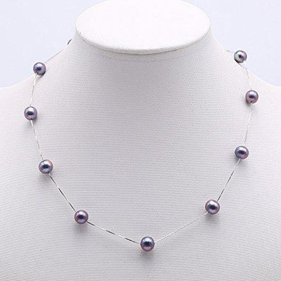 JYX Pearl Sterling Silver Tin Cup Station Necklace AA Quality 8mm Black Freshwater Cultured Pearl Necklace 18""