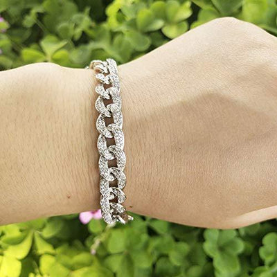 Hip Hop Bracelets for Women 18K White Gold Plated Cubic Zirconia Paved Fashion Cuban Link Bracelet Birthday Gifts for Mom Women Bracelet for Men 6.7''