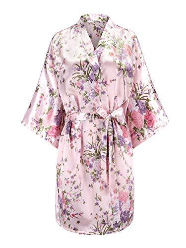 EPLAZA Women Floral Satin Robe Bridal Dressing Gown Wedding Bride Bridesmaid Kimono Sleepwear (Pink, Small-Medium)