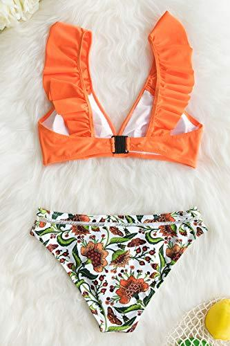 CUPSHE Women's Orange Floral Bottom Ruffle Hook Closure Bikini Set, M - PRTYA