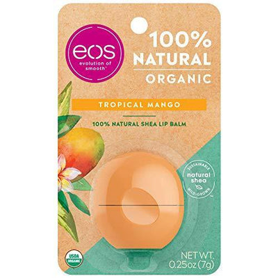 eos USDA Organic Lip Balm - Tropical Mango | Lip Care to Moisturize Dry Lips | 100% Natural and Gluten Free | Long Lasting Hydration | 0.25 oz