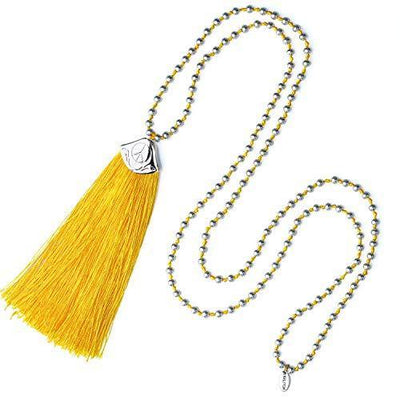 KELITCH Silver Beads Strands Necklaces New Color Tassel Long Pendants Necklace Womens Silver Y Necklaces (Yellow)