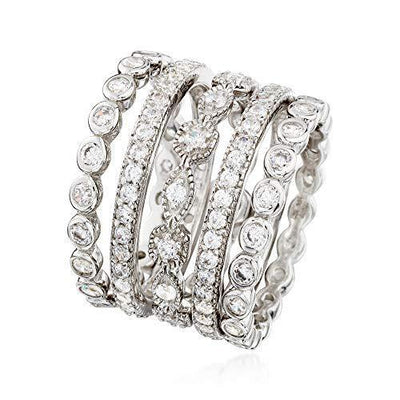 Ross-Simons 2.50 ct. t.w. CZ Jewelry Set: 5 Eternity Bands in Sterling Silver For Women 925
