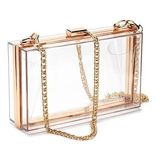 LinkIdea Clear Purse Acrylic Box Evening Clutch Bag Transparent Stadium Approved Crossbody Shoulder Handbag for Women, fits Sporting Events, School Prom, Fest & Concerts (2 Gold Chains)
