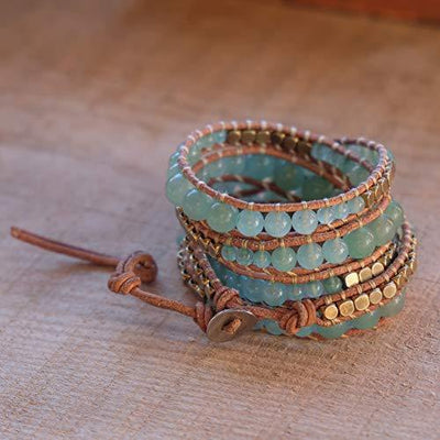 Globi Adjustable 5 Wrap Multilayer Natural Stone Genuine Leather Boho Beaded Womens Bracelet - Handmade Bohemian Wrap Bead Bracelet For Women (Green Aventurine)
