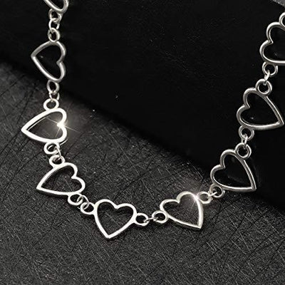 Suyi Choker Necklace - Simple Heart Chain Choker Statement Clavicle Necklace Gift for Women Girls Necklace Jewerly HeartSilver