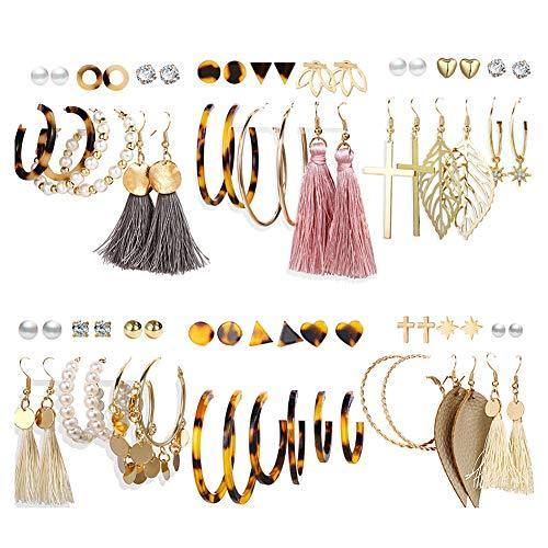 36 Pairs Fashion Tassel Earrings Set for Women Girls Gold Cross Dangle Leaf Earrings Bohemian Acrylic Hoop Stud Earrings for Birthday/Party/Dinner/Christmas
