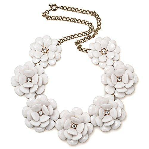 LuckyJewelry Vintage Women Flower White Choker Chunky Statement Bib Pendant Necklace Golden Chain