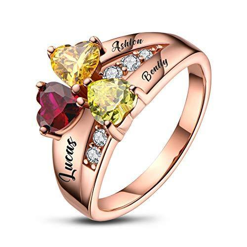 BAUMA Mothers Ring with 3 Birthstones Personalized 925 Sterling Silver Custom Engraved Name Anniversary Ring for Women (Rose Gold, 8)