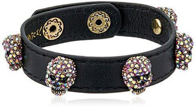 Betsey Johnson Halloween Black Leather with Multi-Color Stone Skulls Wrap Bracelet