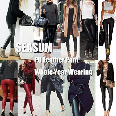SEASUM Women's Faux Leather Leggings Pants PU Elastic Shaping Hip Push Up Black Sexy Stretchy High Waisted Tights M