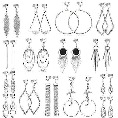 15 Pairs Wholesale Clip on Earrings for Women Fashion-Celtic Knot Earrings,Long Bar Earrings,Tear Drop Earrings Clip on Hoop Earrings for Women-Clipon Earrings for Women and Teen Girls (#1)