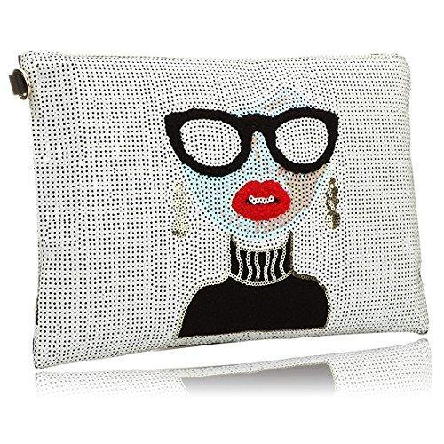 SSMY Oversized Clutch Bag Purse, Womens Large Designer leather Evening Wristlet Handbag for Ladies, White, One Size