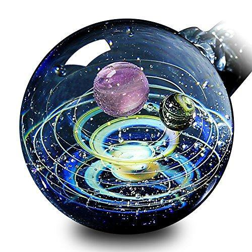 Pavaruni Original Galaxy Pendant Necklace, Universe Glass Accessories, Space Cosmos Design,Birthday Christmas Gift (Vesta)