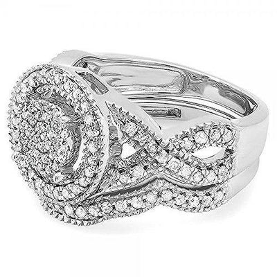 Dazzlingrock Collection 0.50 Carat (ctw) Sterling Silver White Diamond Womens Engagement Ring Set 1/2 CT, Size 6