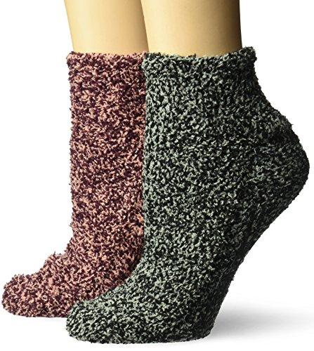 Dr. Scholl's Women's 2 Pack Soothing Spa Low Cut Lavender + Vitamin E Socks with Silicone Treads, Peach, Burgundy, Gray, Black, Shoe Size: 4-10 - PRTYA