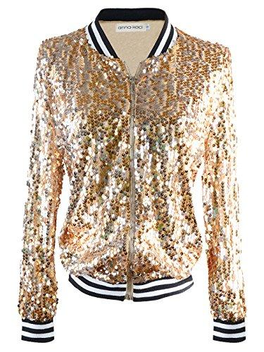 Anna-Kaci Womens Sequin Long Sleeve Front Zip Jacket with Ribbed Cuffs, Gold, Large - PRTYA