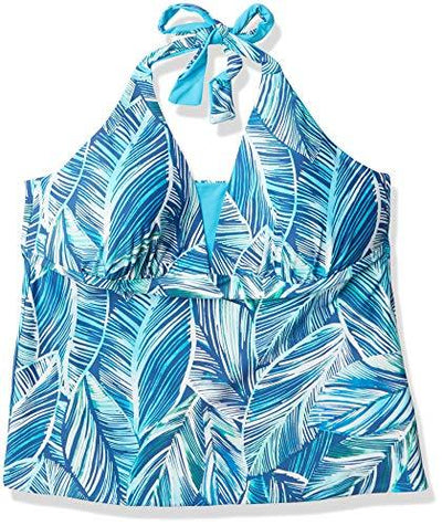 La Blanca Women's V-Neck Halter Tankini Swimsuit Top, Poolside//Sketched Leaves, 14