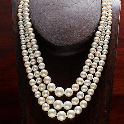 Ross-Simons 6-12mm Shell Pearl Graduated 3-Strand Necklace in Sterling Silver For Women 18 Inch 925