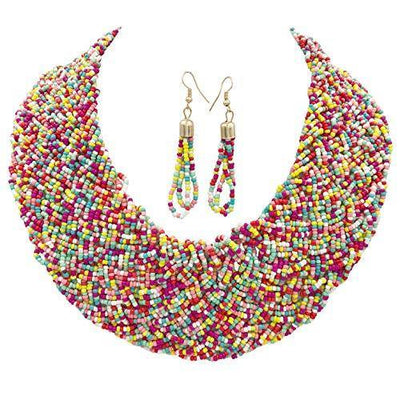 Gypsy Jewels Wide Braided Seed Bead Multi Strand Statement Necklace & Earrings Set (Multi Color 2)