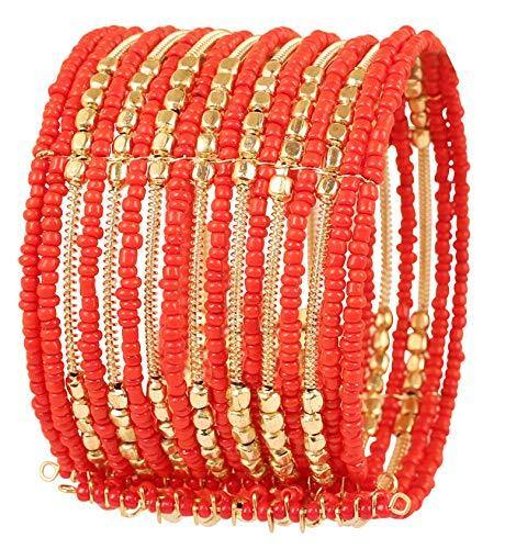 Touchstone New Indian Bollywood Beautiful Beaten Metal Orange Color Glass Beads Wire Layers Beads Wrist Enhancer Openable Cuff Bracelet in Gold Tone for Women.