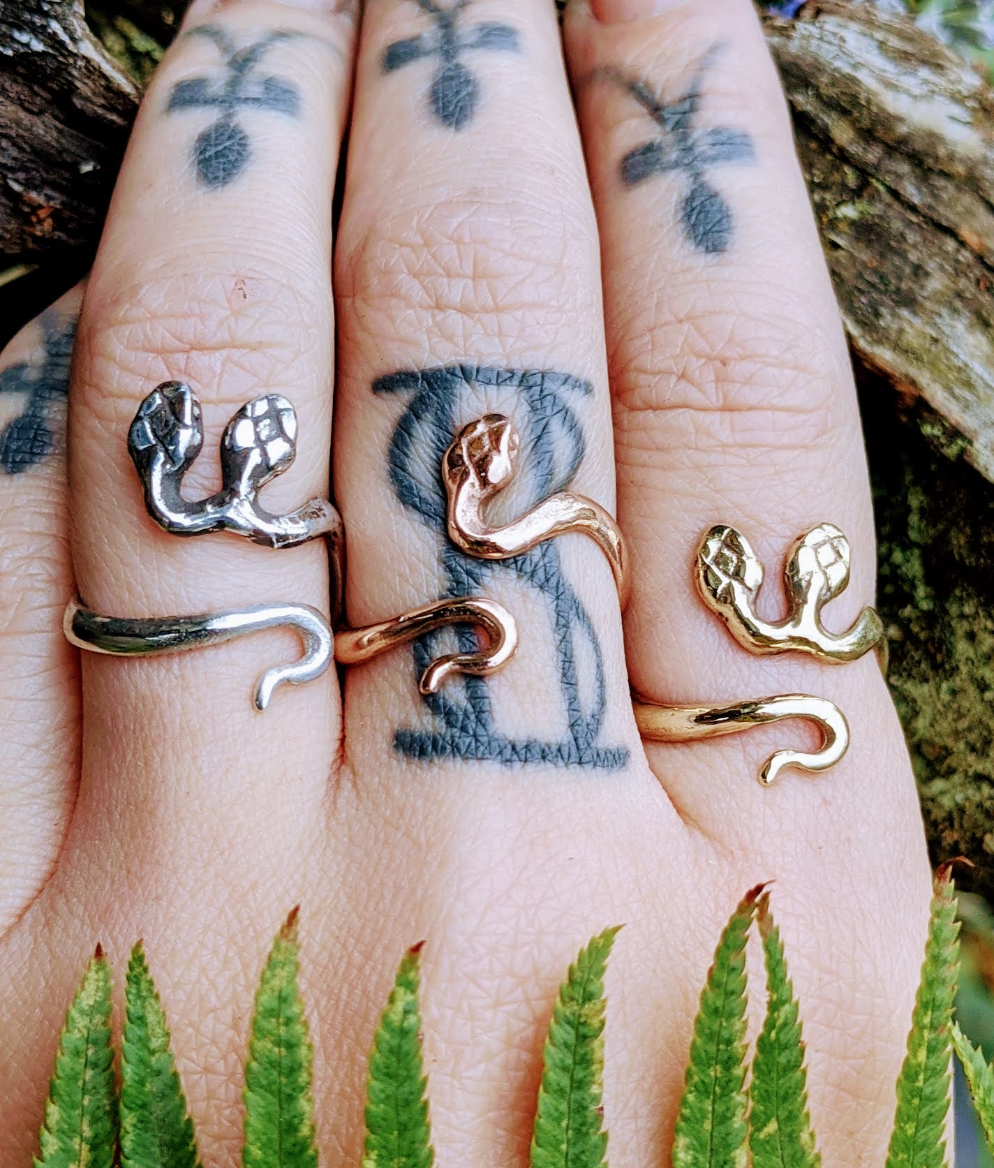 Solid Gold Snek Rings, Sizes 5-9