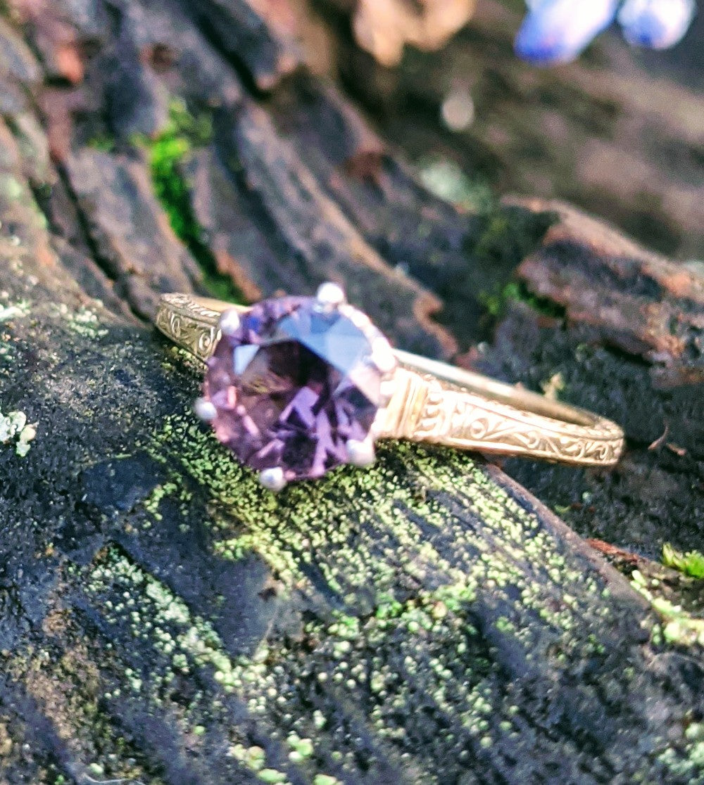Antique Purple Spinel Solid Gold Solitaire, Size 5.5
