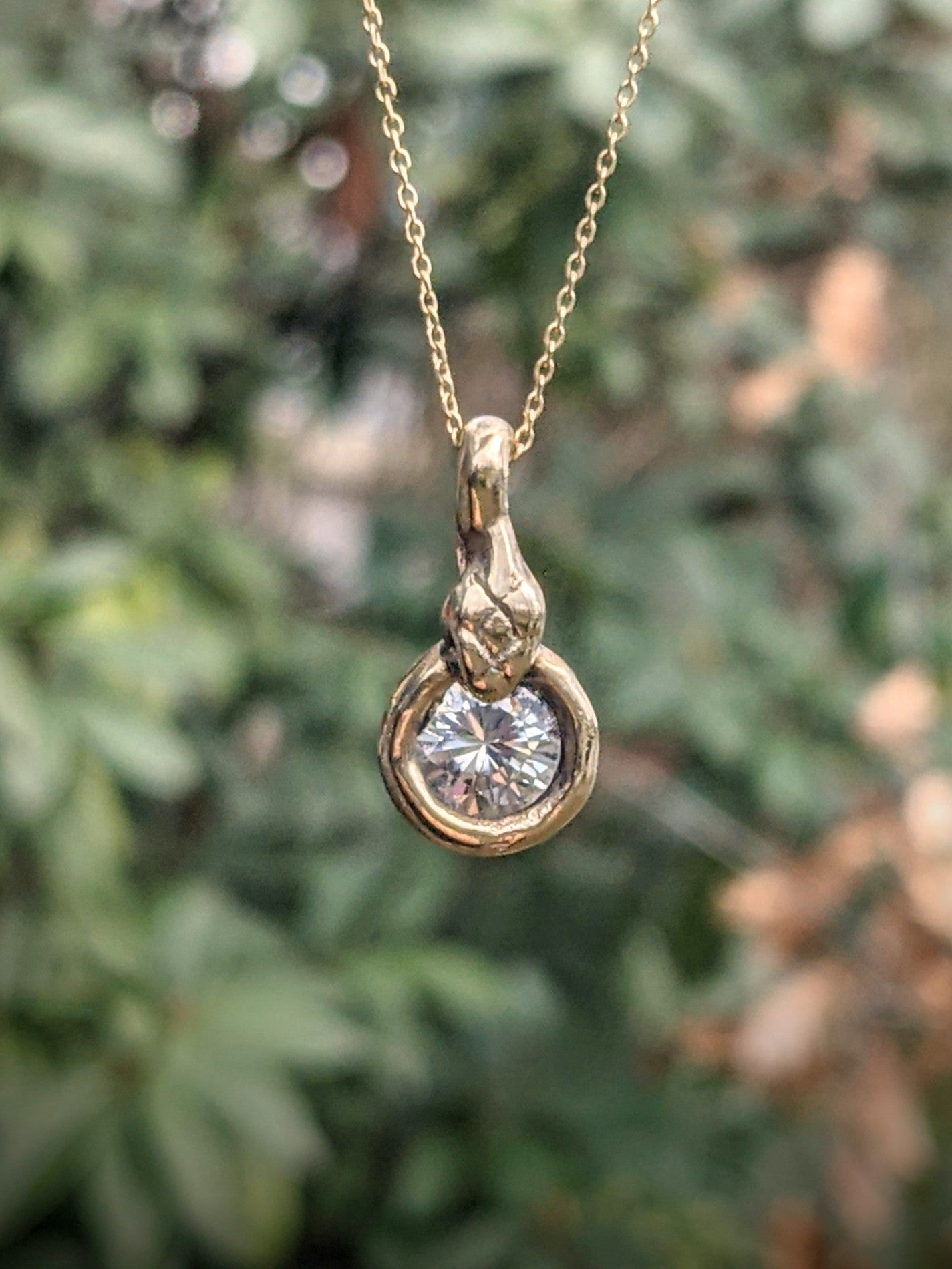 14k Gold Serpent's Egg Necklace, Silver Moissanite