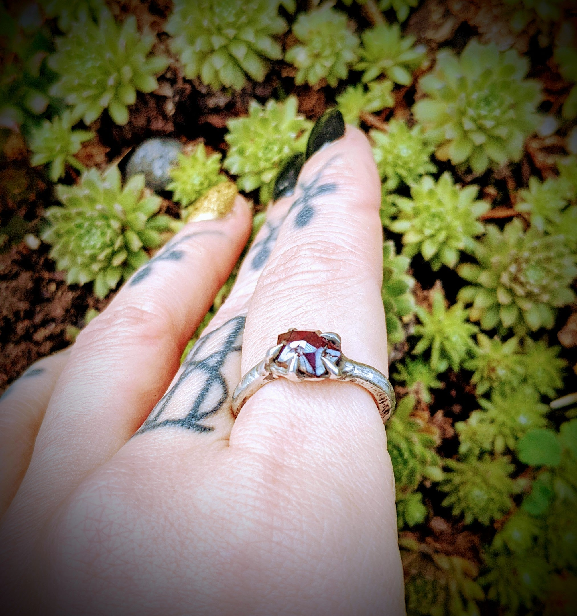 Harpy Ring, Sterling and Garnet, Size 8