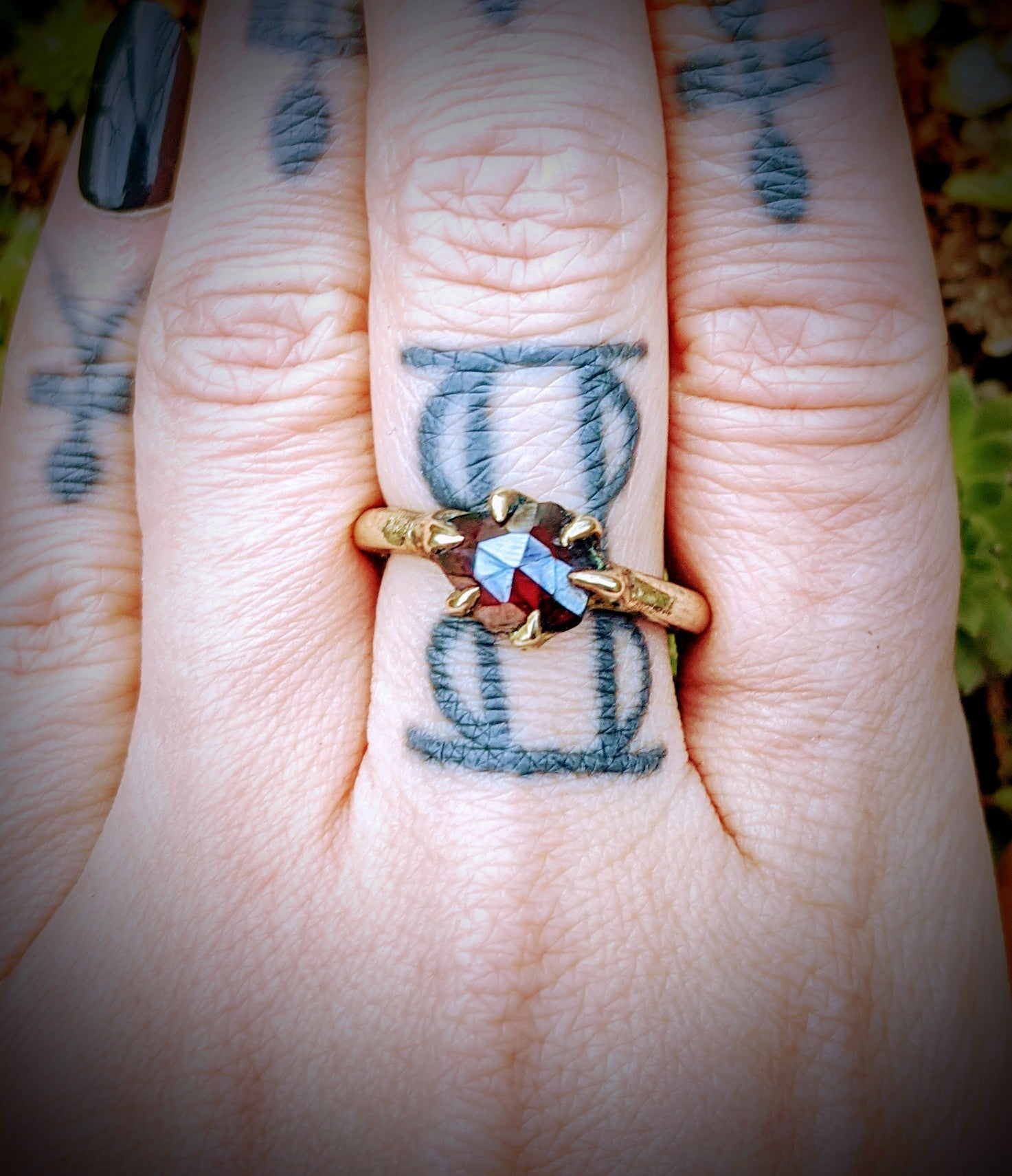 Harpy Ring, Bronze and Garnet, Size 8