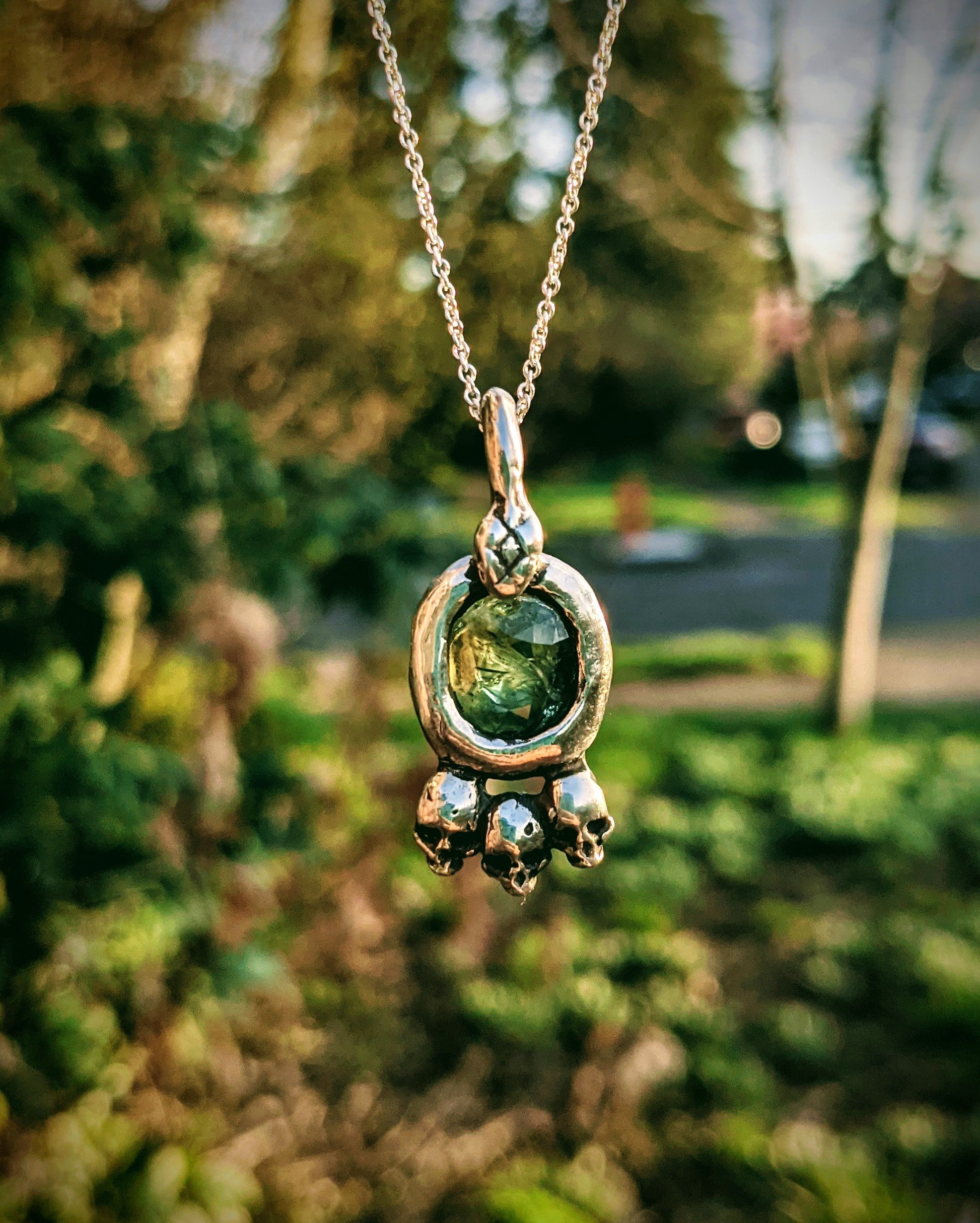 Hecate Necklace, Sterling Silver and Green Sapphire.