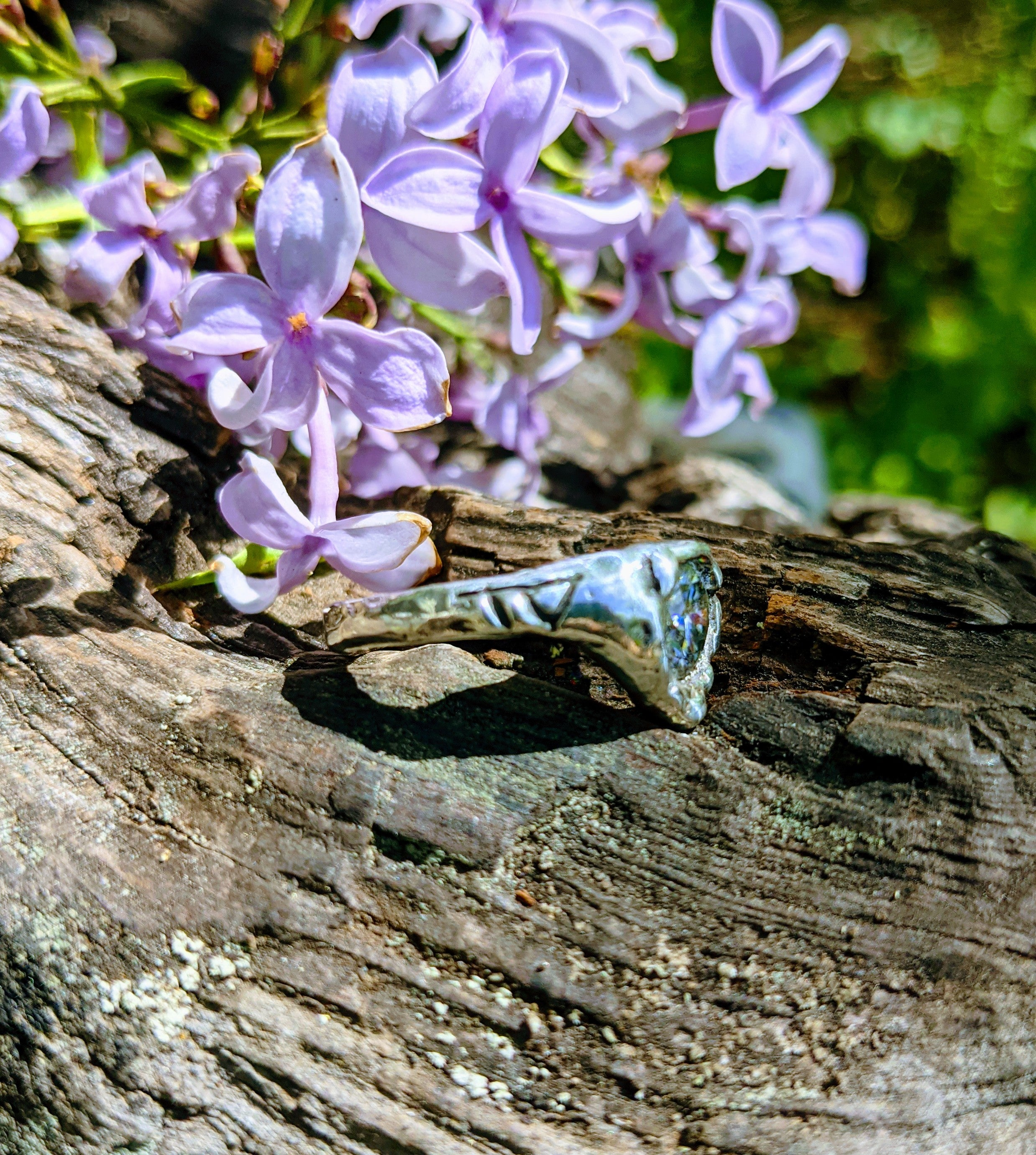 Frigga Ring, Sterling silver with Gray Moissanite Size 6.25