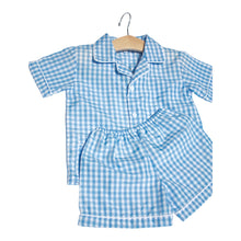 Load image into Gallery viewer, Blue Gingham Short Pjs