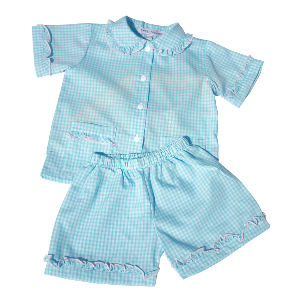 Aqua Gingham Girl PJ
