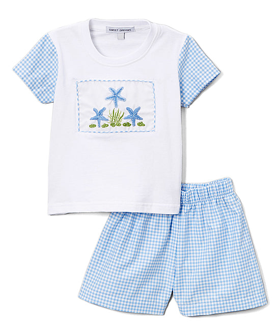 Seashell Blue Shorts Set