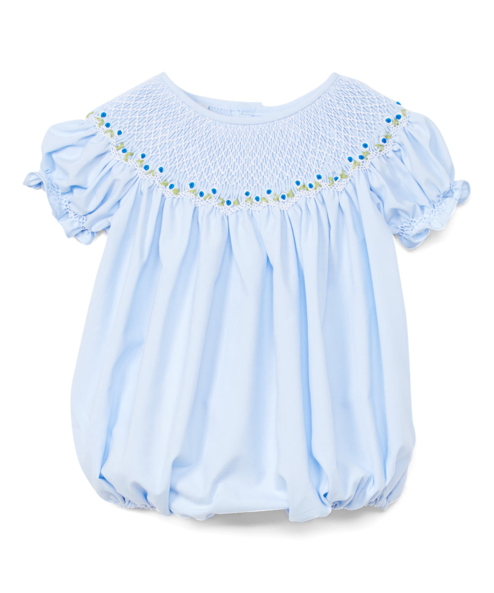 Nicky Blue Smocked Bubble