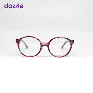 Round Kids Glasses for Boys and Girls - BURGUNDY RED PATTERN