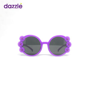 Kids Girls Round Flower Sunglasses - Purple (4 - 12 Yrs)