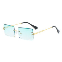 Load image into Gallery viewer, Green-Gold Trendy Retro Fashion Rimless Sunglasses for Men and Women