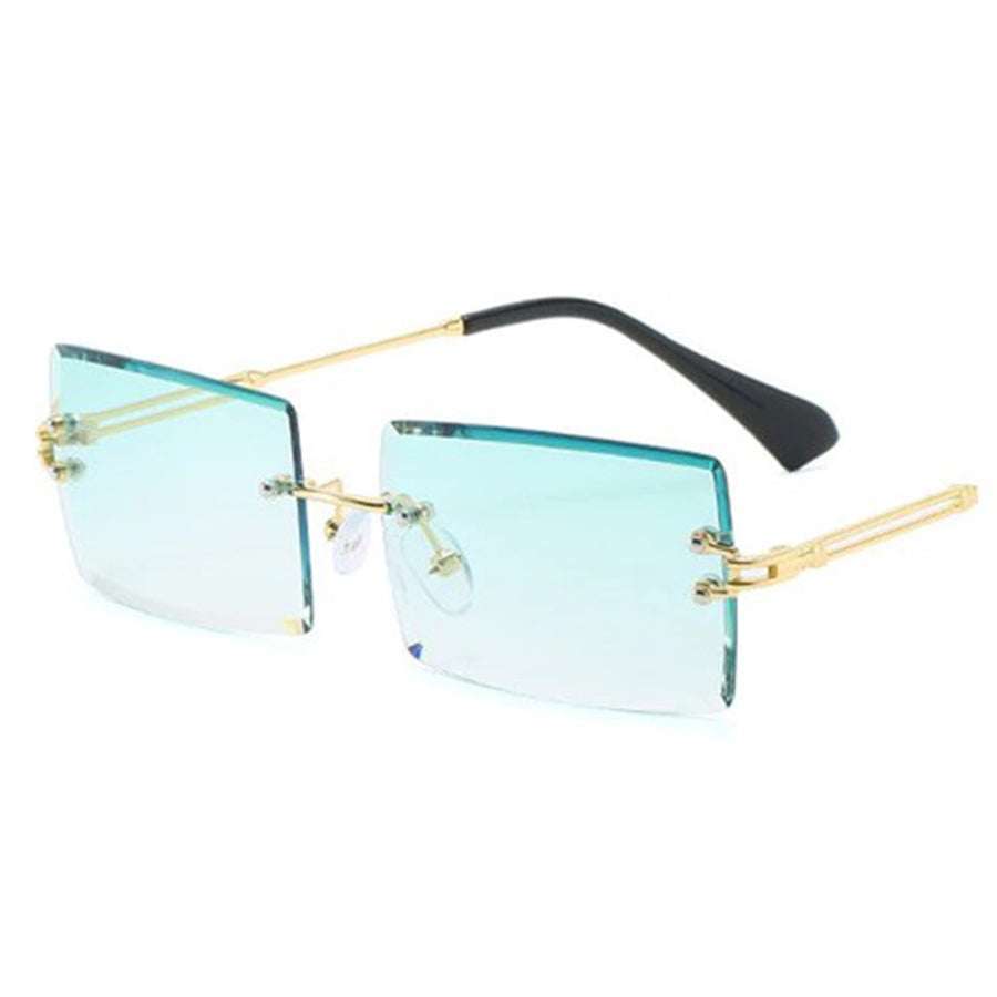 Green-Gold Trendy Retro Fashion Rimless Sunglasses for Men and Women