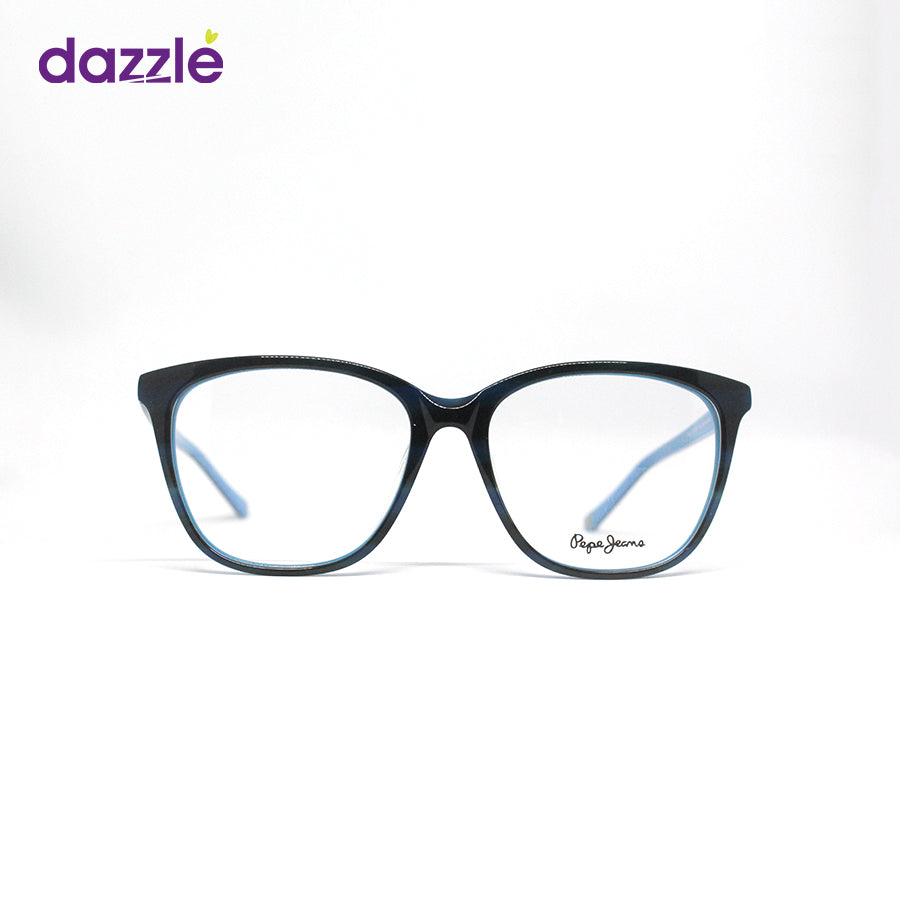 Pepe Unisex Black/Blue Square Cat-Eye Acetate Glasses