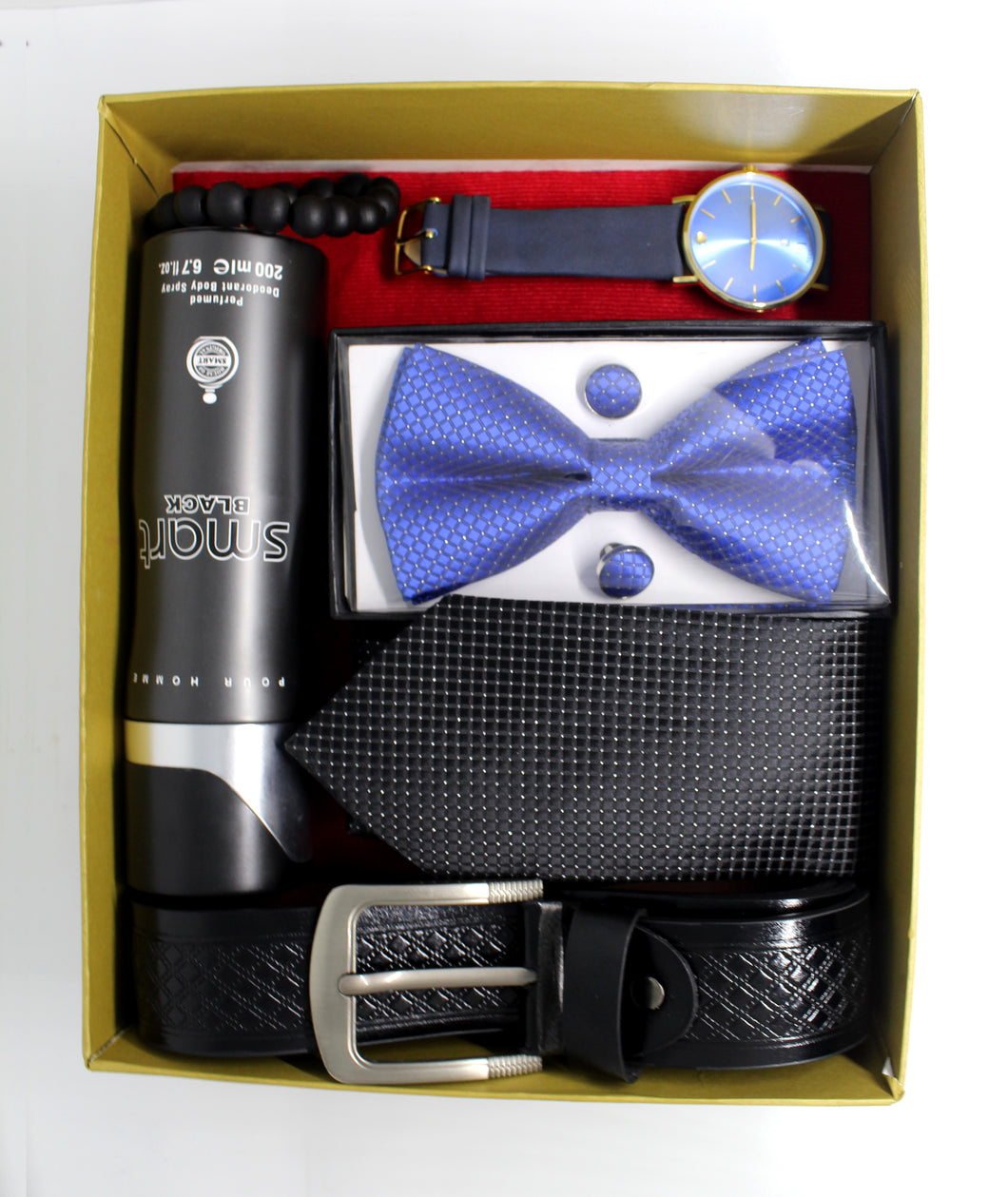 Men's Gift Pack - Watch, Belt, Bow Tie with Cufflinks, Regular Necktie, Bead, Spray