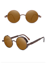 Load image into Gallery viewer, Retro Round Steampunk Gold Transparent Lens Sunglasses Unisex
