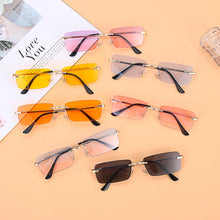 Load image into Gallery viewer, Transparent / Gold Unisex Trendy Retro Fashion Rectangle Rimless Sunglasses