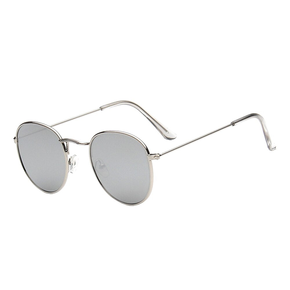 Unisex Polarized Round Aviator Sunglasses - Silver