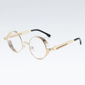 Retro Round Steampunk Gold Transparent Lens Sunglasses Unisex