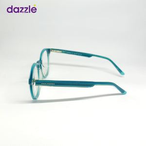 Unisex Turquoise Blue Rounded Glasses