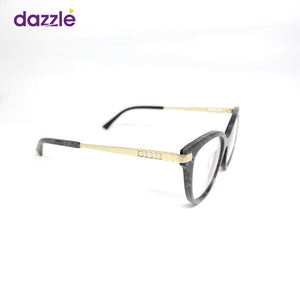Black and Gold Print Cat-Eye Acetate and Metal Stock Frame