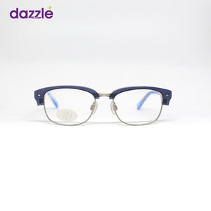 Blue and Silver Rectangle Shaped Kids Eyeglasses for Boys
