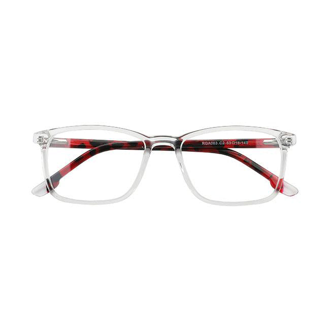 Crystal Transparent Unisex Acetate Stock Frame Eyeglasses with Red-Black Print Temples